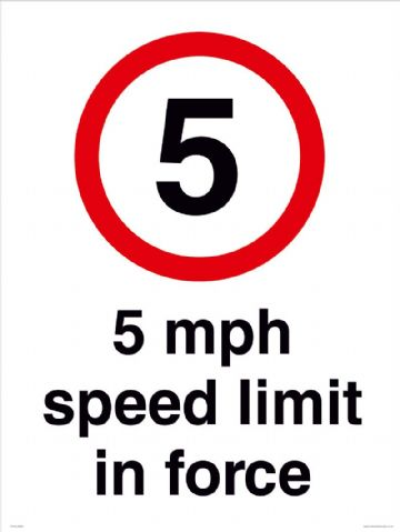 5 mph speed limit in force